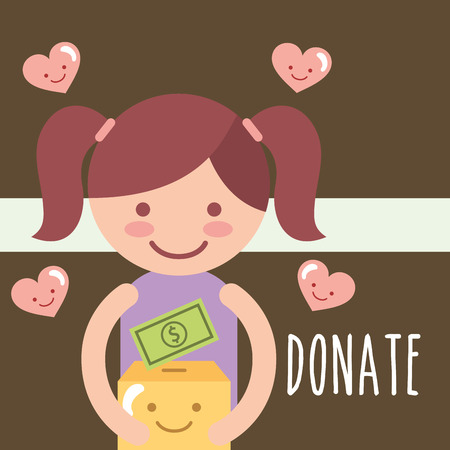 litte girl holding kawaii box with money love donate charity vector illustration Иллюстрация