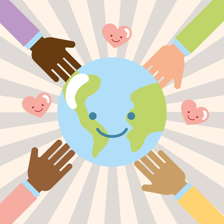 hands multiethnic world kawaii love donate charity vector illustration Banque d'images - 111906385