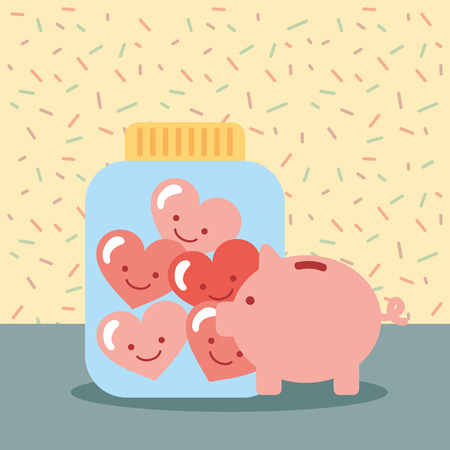 piggy bank jar full love hearts donate charity vector illustration