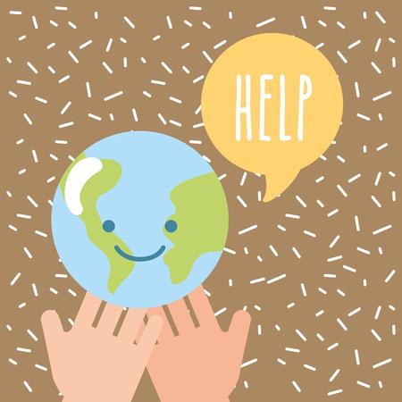 hands holding kawaii world help donate charity vector illustration Illustration