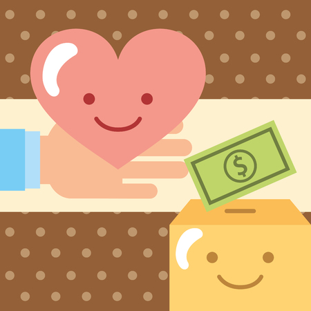 hand with love pouring money into the donate charity box vector illustration Illustration