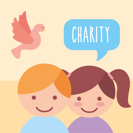 cute boy and girl pigeon donate charity vector illustration Çizim