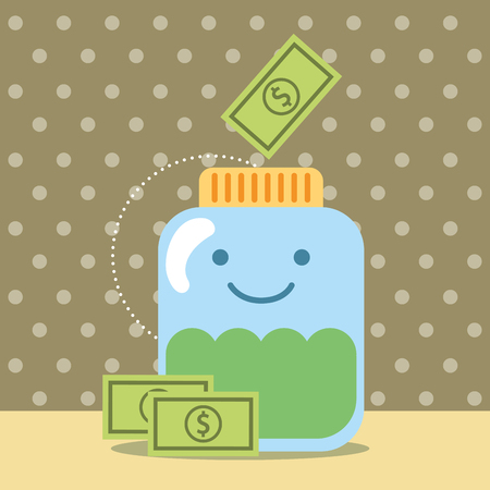 kawaii jar cartoon banknote money donate charity vector illustration