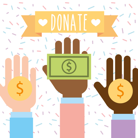 raised hand multiethnic with money donate charity vector illustration Иллюстрация