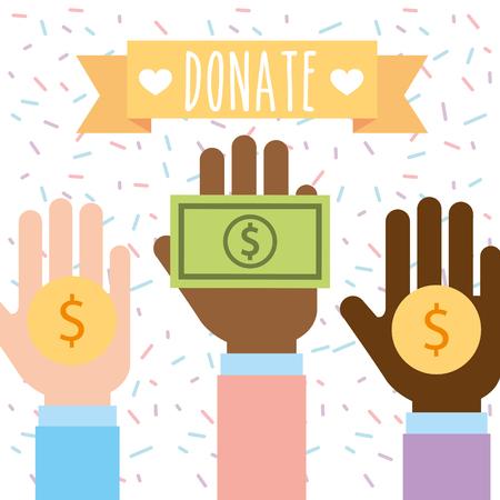 raised hand multiethnic with money donate charity vector illustration Illustration