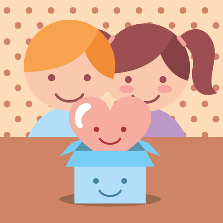 cute boy and girl heart love in box donate charity vector illustration