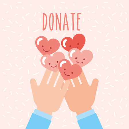 hands with kawaii hearts love donate charity vector illustration