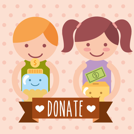 boy and girl with box and jar coins donate charity vector illustration