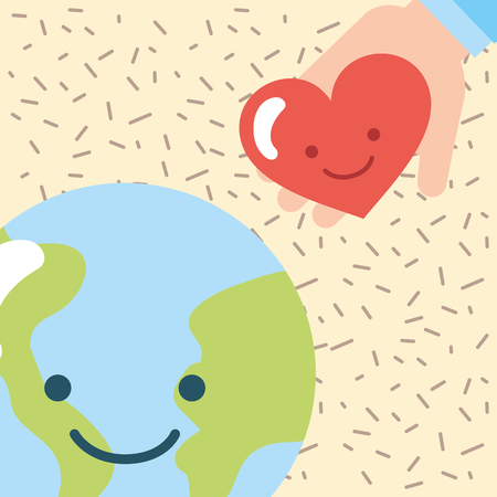 kawaii world and hand love heart donate charity vector illustration Illustration