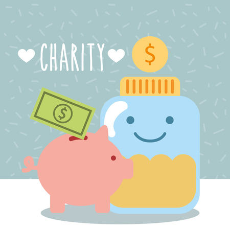 glass container coins piggy money donate charity vector illustration