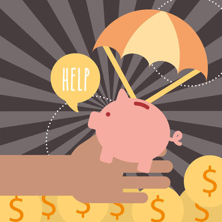 hand with piggy coins help donate charity vector illustration Illustration