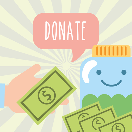 hand with money and jar banknote donate charity vector illustration Illustration