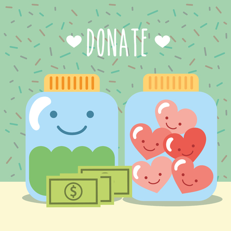 glass jars with hearts and money donate charity vector illustration Ilustração