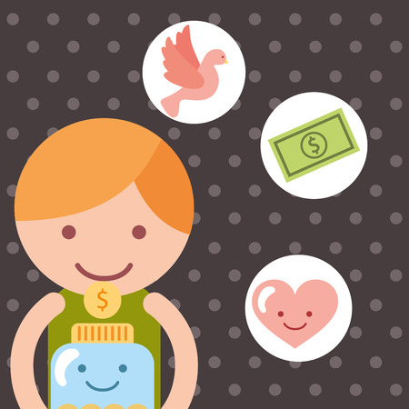 cute boy with jar money coin heart charity vector illustration Illustration