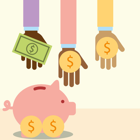 multiethnic hands with money piggy donate charity vector illustration