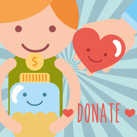little boy with jar glass coins and heart love donate charity vector illustration