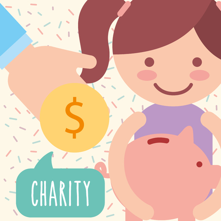 cute girl piggy bank coin donate charity vector illustration