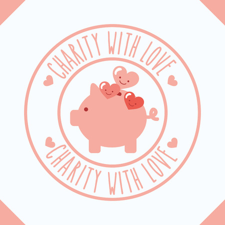 piggy bank hearts cartoon charity with love vector illustration