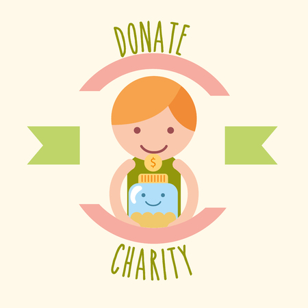little boy with jar coins donate charity label vector illustration Çizim