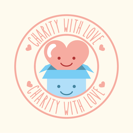 kawaii heart and cardboard box charity with love vector illustration Reklamní fotografie - 111906425