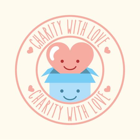 kawaii heart and cardboard box charity with love vector illustration