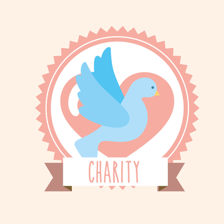 blue pigeon heart donate charity label vector illustration
