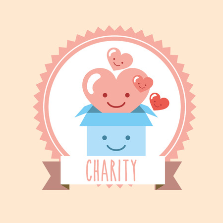 heart and cardboard box donate charity label vector illustration Illustration