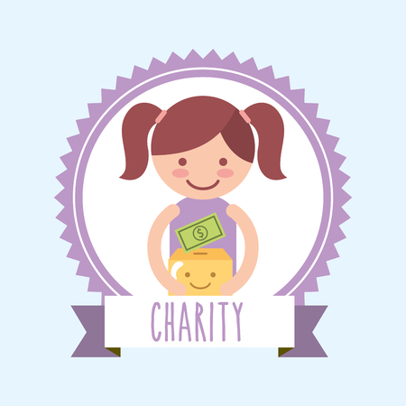 little girl with kawaii box money donate charity label vector illustration Banque d'images - 111906426