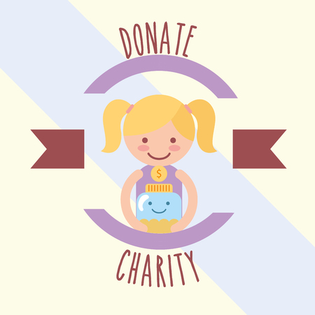 little girl with kawaii jar coins donate charity label vector illustration