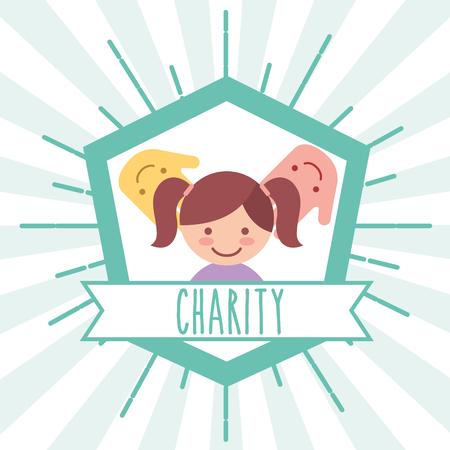 le mani della bambina supportano l'illustrazione di vettore di carità dell'emblema retrò Vettoriali