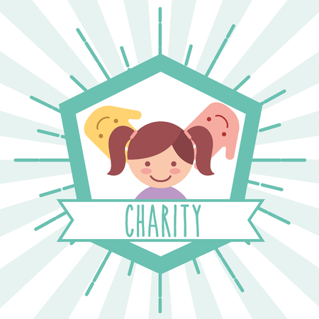 little girl hands support retro emblem charity vector illustration Çizim