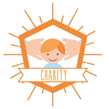 little boy hands support retro emblem charity vector illustration
