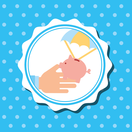 badge hand holding piggy bank in parachute vector illustration
