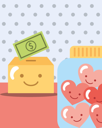 dotted background box with money and jar hearts vector illustration