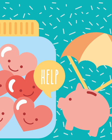 piggy with parachute and jar hearts love charity vector illustration 일러스트