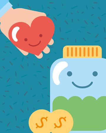 Tarro kawaii y corazón en la mano monedas ilustración de vector de caridad