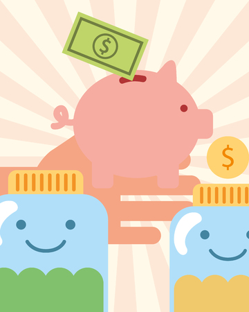 hand with piggy money jars coins charity vector illustration