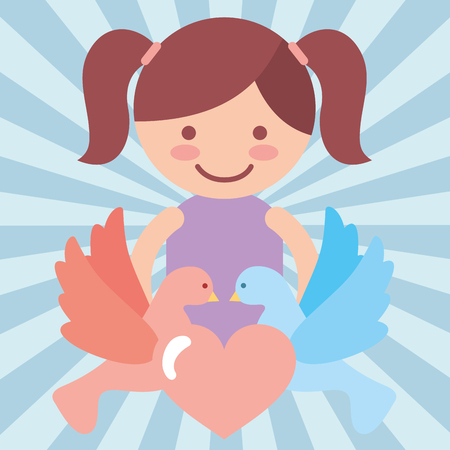 cute girl pigeons heart love donate charity vector illustration Ilustrace