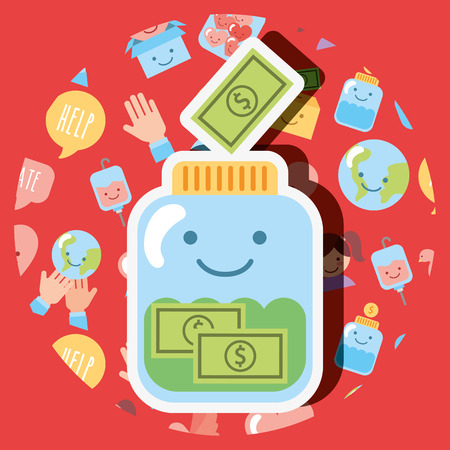 jar glass banknote money dollar kawaii charity vector illustration
