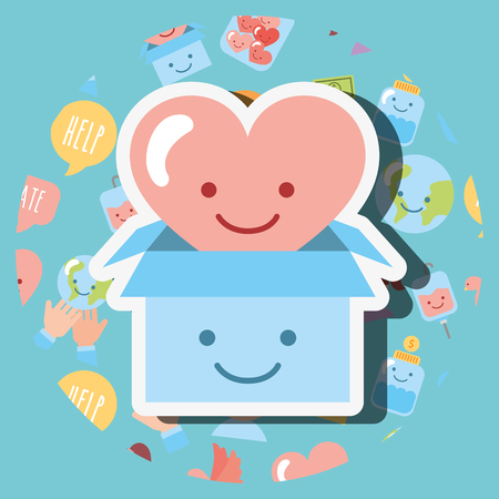 cardboard and heart love cartoon kawaii charity vector illustration Banque d'images - 106622762