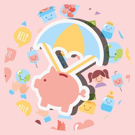 piggy bank with parachute cartoon charity vector illustration