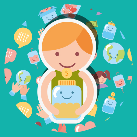 little boy with jar glass coins money kawaii charity vector illustration