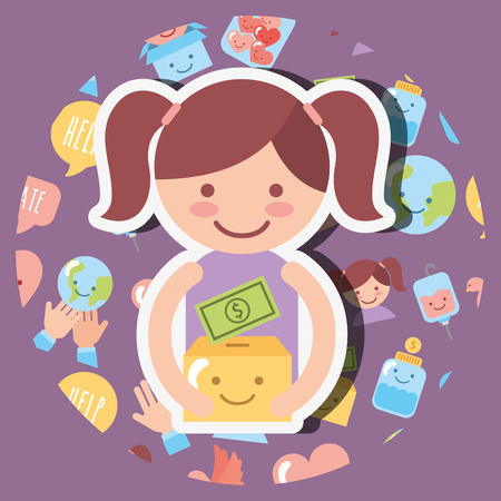 little girl with cardboard box money kawaii charity vector illustration