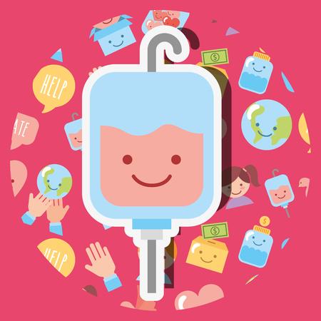 blood bag medical kawaii charity donation vector illustration