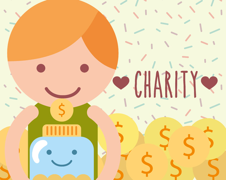little boy with jar glass coins currency charity vector illustration