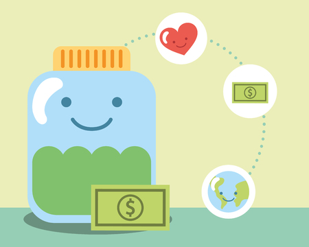 kawaii charity jar glass banknote world love vector illustration