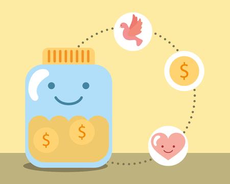 jar glass coins money love heart charity vector illustration Illustration