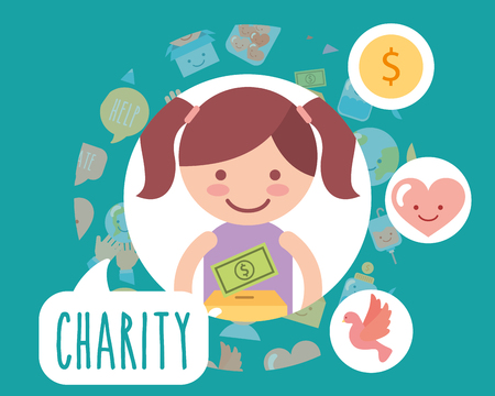 little girl cardboard box money love charity vector illustration