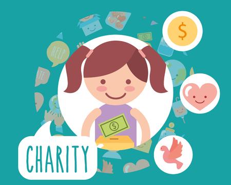 little girl cardboard box money love charity vector illustration