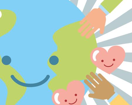 world kawaii hands love hearts charity vector illustration